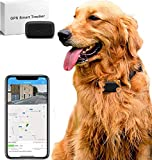 LMHOME Mini GPS Hund Katze Tracker Locator für 12,7 kg Haustiere Wasserdicht IP67 Echtzeit Aktivitätsmonitor AGPS LBS SMS Positionierung Tracking Gerät mit Halsband (schwarz)