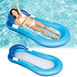 Wasserhängematte Luftmatratze aufblasbare Schwimmende Wasser Bett Strandmatte Floating Lounge Stuhl,Luftmatratze Wasserhängematte Perfekte Badehängematte mit Kopfteil. (Blau)