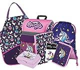 Schulranzen Mädchen Set 7 Teilig - Schultasche ab 1. Klasse - Grundschule Ranzen mit Brustgurt - Ergonomischer Schulrucksack (Einhorn)