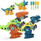 ALLCELE Dinosaurier Montage Spielzeug, 4 Stück DIY Dinosaurier Figuren Set mit Schrauben Pädagogisches Dino Spielzeug ab 3 4 5 6 7 Jahren Geschenke für Kinder Jungen und Mädchen