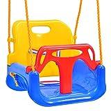Emwel Babyschaukel Outdoor - kinderschaukel 3 in 1 Kinderschaukel Indoor Kinderschaukel für Baby und Kinder abnehmbare Freien Schaukelsitz Kinder mit Rückenlehne und Anschnallgurt belastbar bis 180kg
