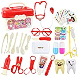 KAIBINY 33 Teile Arztkoffer Doktor Spielzeug mit Echt Stethoskop Thermometer, Spritze und praktischem für Kinder Rollenspiel Medizinisches Geschenk(rot)