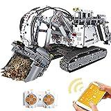 MMOC Technik Bagger Liebherr Bagger Bausatz, MOULDKING 13130, 4062 Teile 2.4G 4CH RC/APP Technik Motorisierter Raupenbagger Technik Ferngesteuert Bagger mit Motoren Bauset Kompatibel mit Lego Technic