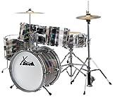 XDrum Junior Pro Kinder Schlagzeug Drumset (geeignet von 5-9 Jahren, mit viel Zubehör, Schule, DVD) Laser Silver