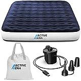 Active Era Luxus Camping Doppel Luftbett mit elektrischer Luftpumpe - Luftmatratze für 2 Personen mit tragbarer Akku Luftpumpe, USB Ladekabel und Tragetasche - 150 x 203 x 22 cm