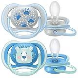 Philips Avent Ultra Air Schnuller SCF085/03, Atmungsaktiv, Kiefergerecht, BPA frei, 6-18 Monate, 2er Pack, Blau