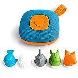 Jooki J1000 Kinder-Lautsprecher mit Spotify-Integration, steuerbar durch 5 mitgelieferte Figuren (4GB microSD Karte inkl, 8 Std. Akkulaufzeit, Spritzwassergeschützt) Blau-Orange
