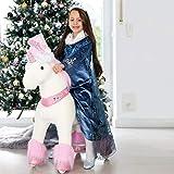 PonyCycle Offizielle Klassisch U-Serie Reiten auf Einhorn Spielzeug Plüsch Lauftier Rosa Einhorn für Alter 4-9 Mittlere Größe U402