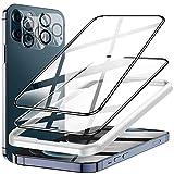 LK Panzerglas Kompatibel mit iPhone 12 Pro Max Schutzfolie, mit Rahmen, 6.7 Zoll, 2 Panzerfolie und 2 Kamera Folie, 9H Schutzglas,3D Volle Abdeckung Displayschutz, Kratzen, Blasenfrei, Full Screen