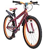 BIKESTAR Kinderfahrrad 24 Zoll für Mädchen und Jungen ab 9 Jahre | Kinderrad Urban Jungle | Fahrrad für Kinder Berry & Orange| Risikofrei Testen