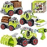 4 in 1 Montage Bauernhof Fahrzeug Kinder ferngesteuert Traktor Fahrzeug Bagger Spielzeug Baustellenfahrzeuge mit Bohrmaschine Musik Licht STEM Spielzeug Geschenk für Kinder Jungen 4 5 6 7 8