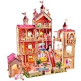 Puppenhaus Spielzeug Sets,mit 49 Stück Möbelzubehör und Lichtern. 4 Etagen Großes Puppenhausspielzeug (Höhe 102 x Länge 93 x Breite 63cm) für 3-6 jährige Mädchen