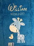 Babydecke bestickt mit Name und Geburtsdatum/kuschelig weich / 1A Qualität nach Ökotex 100 Standard - farbecht (Blau - GIRAFFE)
