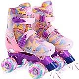 GVDV Rollschuhe Mädchen Verstellbar - LED Roller Skates Beleuchtete für Kinder und Jugendliche, Quad Rollerskates Kompletter Schutz für Anfänger