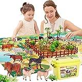 BUYGER 58 Stück Bauernhof Tiere Spielzeug für Kinder mit Spielmatte, 13 Tierfiguren Set, Tierespielzeug Spielset für Kinder ab 3+ Jahre