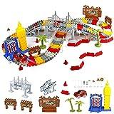 TONZE Auto Rennstrecken Spielzeug Set 176 Stück Autorennbahn Rennbahn Car Spiele mit Big Ben, Bäumen, Verkehrszeichen und Hindernissett, für Geschenk Kinder 3 4 5 6 Jahre alte Jungen und Mädchen