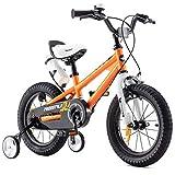 RoyalBaby Kinderfahrrad Jungen Mädchen Freestyle BMX Fahrrad Stützräder Laufrad Kinder Fahrrad 12 Zoll Orange