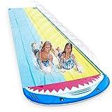 Magicfun Wasserrutsche, 4.8 x 1.4M Doppel Wasserbahn im Hai-Stil, Wasserrutschmatte Outdoor Wasserspielzeug mit 2 Bodyboards & Sprinkler Outdoor für Garten Rasen für Kinder