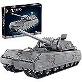 Lommer Baustein Panzer Modell, WW2 Deutscher Hauptkampfpanzer VIII Maus Militär Panzer Bauset, 2127 Klemmbausteine Kompatibel mit Lego Technik