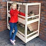 zooprinz edler Hasenstall – aus massivem Holz ideal fürs Haus oder die Garage – mit Zwei Schubladen zur schnellen Reinigung und praktischen Rollen (Hasenstall)