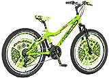 Kinderfahrrad [18 Zoll Grün/ 20 Zoll Rot] Jungen Geschenk Fahrrad ab 7 Jahre mit Fahrradstand Fahrrad Kinder (24 Zoll Neon Green)