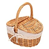 YIZAN Handgemachte Weiden Korb mit Griff, Wicker Camping Picknick Korb mit Doppel Deckel, Einkaufskorb Korb mit Stoff Bezug