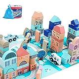 WFF Spielzeug Hölzerne Bausteine Spiele-Set for 3-Jährige und Kinder Jungen Mädchen, Lern Stacking Spielzeug 133 Stück (Color : 1 Set)