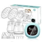 Elektrische Milchpumpe PiAEK Doppel Milchpumpe Stillpumpe mit Touchscreen Wiederaufladbares Tragbares Leise 3 Modi & 27 Stufen BPA-frei (Kostenlos zwei zusätzliche Entenschnabelventile)