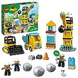 LEGO 10932 DUPLO Baustelle mit Abrissbirne, Bauset mit Lastwagen, Kran und Radlader, Spielzeug für Kleinkinder ab 2 Jahren