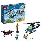 LEGO 60207 City Polizei Drohnenjagd, Hubschrauberspielzeug mit Netzkanone, Gefängnisausbruch Sets für Kinder