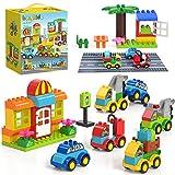 burgkidz Bausteine Groß - 141 Stück Kreative Steine Spielzeugautos Set mit Straßengrundplatte - 6 Verschiedene Modellfahrzeuge, Konstruktionsspielzeug Geschenk für Kinder ab 2 Jahren