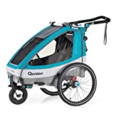 Qeridoo Sportrex1 (2020/2021) Fahrradanhänger Kinder, 1 Sitzer, Federung - Petrol