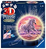 Ravensburger 3D Puzzle 11843 - Nachtlicht Puzzle-Ball Pferde am Strand - 72 Teile - ab 6 Jahren, LED Nachttischlampe mit Klatsch-Mechanismus
