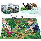 TEMI Dinosaurier Spielzeugfigur mit Aktivität Spielmatte & Bäume, pädagogisch realistisches Dinosaurier-Spielset zur Schaffung einer Dino-Welt mit T-Rex, Triceratops, Velociraptor für Kinder 3+