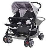 Festnight Klappbar Baby Zwillingswagen Zwillingskinderwagen Kinderwagen aus Stahl + Oxfordgewebe geeignet für 1-2 Kinder bis zu je 15kg- Grau und Schwarz