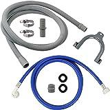 SPARES2GO Wasserfüllrohr Zulaufschlauch + Ablaufrohr Verlängerungsset kompatibel mit Miele Waschmaschine (2,5 m)