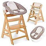 Hauck Alpha Plus Natur Newborn Set - 4-tlg. Hochstuhl + Neugeboreneneinsatz & Wippe Stretch Beige + Sitzpolster