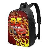 Benutzerdefinierte Jungen Rucksäcke Kompatibel mit Lightning Wasserdichter Laptop Rucksack für die Reise McQueen Cars Büchertaschen Geschenke 17 Zoll
