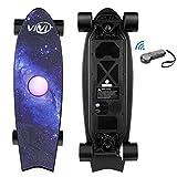 Vivi H2E Elektro Skateboard mit eingebautem bunten Licht, Elektro Longboard mit Fernbedienung, 350W bürstenloser Motor bis zu 30KM/H, Stylisches E Skateboard für Kinder, Jugendliche, Erwachsene