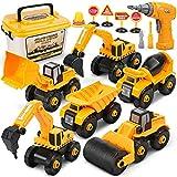 Dreamon Montage LKW Spielzeug, Bagger Spielzeug mit Elektro-Drill für Bagger sandkasten Kinder Jungen Mädchen 3 Jahren