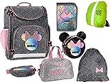 Disney Minnie Maus Set - 7 Teile - Ranzen Schulranzen, Federtasche Federmappe, Gürteltasche, Turnsack, Schultertasche, Sporttasche, Regenschutz 7-teiliges Set