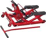 Cartrend 50241 Motorradhebebühne, Motorradheber hydraulisch, bis 680 Kg belastbar, gummierte Trageflächen, einfache Bedienung, Rot