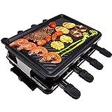Raclette Grill - LaSoGi Rauchfreier Tischgrill Haushalts Elektrischer BBQ-Grill, Tisch Barbeque Grill 1300W Racklettgrill für 8 Personen mit 8 Mini-Backformen, Temperaturregelung