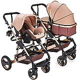 """Kinderwagen """"California"""", 3 in 1 Kombikinderwagen Megaset 8 teilig inkl. Babyschale, Babywanne, Sportwagen und Zubehör, Sicherheitsnorm EN1888, Buggy, Beige"""