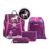"""Step by Step Ranzen-Set Touch 2 Flash """"Dreamy Unicorn"""" 4-teilig, lila-pink, Einhorn-Design, ergonomischer Tornister mit Reflektoren, für Mädchen 1. Klasse, 21L"""