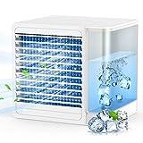 Mobile klimaanlage, 4 in 1 Persönliches Mini Luftkühler Klimagerät mit LED Nachtlicht, USB Mobile Klimageräte Mini Luftbefeuchtung Ventilator, 800ML Wassertank, Ideal für Arbeitsplatz und Hause