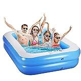 Planschbecken Swimmingpool Rechteckig Aufblasbar für Garten Balkon für Kinder Jungen Mädchen Leicht Aufbaubar Blau (155x108x46cm)