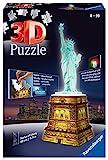 Ravensburger 3D Puzzle - 12596 Freiheitsstatue bei Nacht - 3D puzzle für Kinder und Erwachsene, Wahrzeichen von New York im Miniatur-Format, Leuchtet im Dunkeln