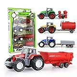 Lubudup 4 Stück Alloy Farm Traktoren Set Spielzeug, kleine Farm Traktoren LKW und Anhänger Set, Farm Traktor Legierung Auto Modell Spielzeug für Jungen und Mädchen