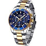 Herren Uhr Männer Chronographen Gold Edelstahl Wasserdicht Designer Armbanduhr Herren Militär Großes Leuchtende Analog Datum Business